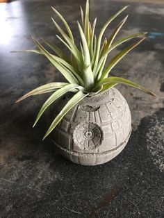 Small Death Star Concrete Planter Single Planter Includes Air PLant Star Wars Office Decor - Star Wars Siths - Ideas of Star Wars Siths - Death Star Concrete Planter Air Plant Holder Star by AnsonDesign Decoration Star Wars, Star Wars Decor, Star Wars Zimmer, Iphone Plus, Star Wars Bedroom, Star Wars Film, Office Plants, Concrete Planters, Cement