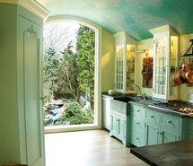 best classic interior home design: Beautiful sky blue kitchen Aqua Kitchen, Kitchen Paint, Kitchen Decor, Kitchen Design, Turquoise Kitchen, Nice Kitchen, Kitchen Living, Country Kitchen, Earthy Kitchen