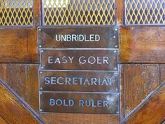 At Claiborne Farm, each stall gets passed down from one champion to the next. Secretariat took his sire, Bold Ruler's, stall. After his death, it went to Easy Goer, and then Unbridled. Unbridled's son, Eddington now occupies the stall.