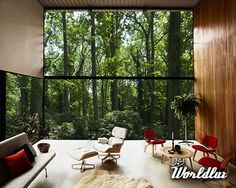 house with a big floor to ceiling window