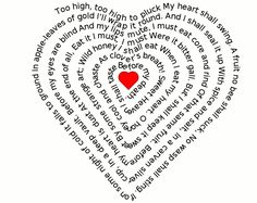 At this website you can type whatever words you want and it will print them in this heart shape