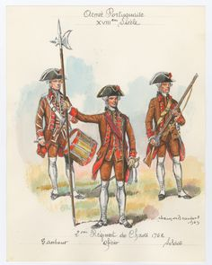 """""""nd Regiment do Chaves, Drummer, Officer & Sldier, 1762 by L. Seven Years' War, Military Uniforms, Napoleonic Wars, Armed Forces, Portuguese, Troops, 18th Century, Revolution, Dutch"""
