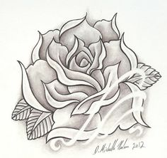 Rose tattoo pencil drawing by Michelle Nordeen at Crimson Heart Designs Studio, Turtle Lake, WI