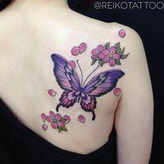 #cherryblossoms #butterfly #tattoo #reikotattoo