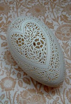 Jumbo Hand Carved Victorian Lace Goose Egg by theNestatWindyCorner, $140.00