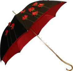 Pasotti Black & Red Flower Garden Umbrella    This unique hand-made umbrella features a double canopy cover which is black outside with a red floral appliqué design and beaded detail and has a red satin layer inside concealing the umbrella's frame.     If I was rich...
