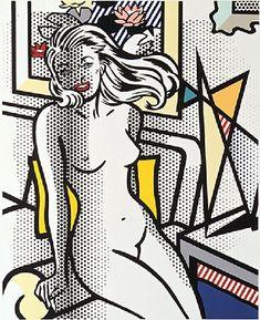 """Roy Lichtenstein  1994 """"Nude with yellow pillow"""" www.artbrokerage.com"""