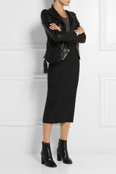 Black virgin stretch wool-blend Concealed zip fastening along back 60% wool, 35% polyamide, 5% elastane Dry clean