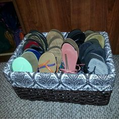Thank you Pinterest for this idea..flip flops/flats don't need to take up closet storage!!!