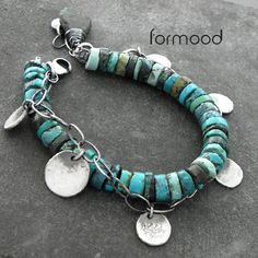 db strand turquoise and silver chain bracelet