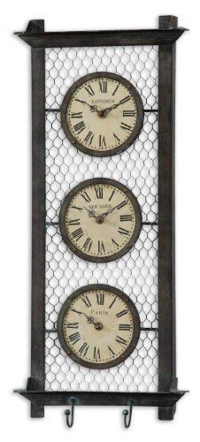 """Rustic Chicken Wire Wall Clocks-11 in. by Uttermost. $138.60. Material: METAL+MDF. Features one clock for each of three different cities. Frame is hand forged metal with a rustic bronze finish with a light gray wash. Quartz movement. Dimensions: 2.25""""D x 11""""W x 26""""H"""