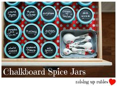 chalkboard spice jars ... ♥  I'll probably do something similiar but make a riser for the counter.