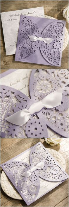 romantic purple lavender laser cut wedding invitations with free rsvp cards @elegantwinvites