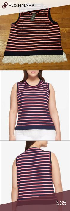 Tommy Hilfiger striped sleeveless sweater Scoop neck lightweight sleeveless sweater with a feminine lace trimming  Bust 22 Length 26 Tommy Hilfiger Tops
