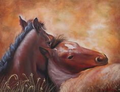 """""""Morning Foals"""" equine art by Southwestern artist Karen Chatham, painted from Kent Keller photography of the wild horses of Utah. Prints and more available here."""