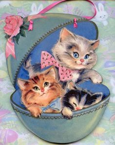 ADORABLE EASTER CATS KITTENS in EGG DECORATION WOOD WALL PLAQUE SIGN VTG. STYLE