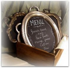 vintage silver trays painted with chalkboard paint become interesting menus or party message boards! Chalkboard Wedding, Vintage Chalkboard, Chalkboard Paint, Chalkboard Drawings, Chalkboard Lettering, Chalk Paint, Black Chalkboard, Chalkboard Ideas, Chalkboard Signs