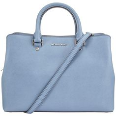 MICHAEL Michael Kors Savannah Large Leather Satchel, Denim ($420) ❤ liked on Polyvore featuring bags, handbags, satchel purses, handbag purse, leather hand bags, blue leather handbags and blue purse
