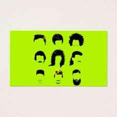 Barber Hairstylist business card | Hair Salon The evolution of male hairstyles over the years & decades. It ranges from the 50s rockabilly pompadour, to the 60s bowl haircut, and the afro, the 80s hair band hairstyle and 90s hip hop flat top. The 2000s kicked off the the fawhawk leaving behind the early 90s mullet, and now we have the bearded man with a long beard and sometimes a man bun on his head. These are silhouettes of the hairstyles. Calling Card.