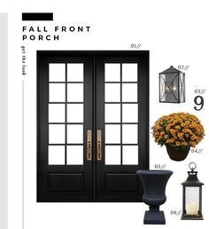 Replacing the Front Door & Decorating for Fall - Room for Tuesday Double Front Entry Doors, Double Doors Exterior, Black Front Doors, Front Door Entrance, Door Entryway, Foyer, Small Front Porches, Front Door Design, Farmhouse Front