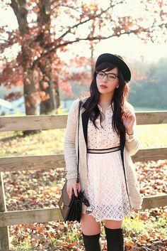 Keiko Lynn looks ethereal in this lovely cream & black ensemble.