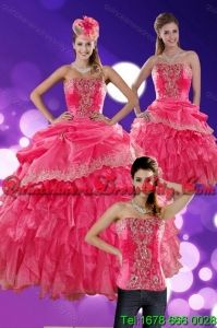 The Most Popular 2015 Detachable Hot Pink Quince Dresses with Ruffles and Appliques