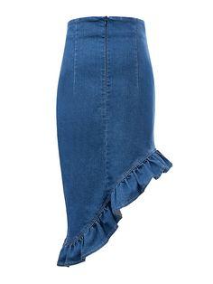 Asymmetric Pencil Denim Skirt