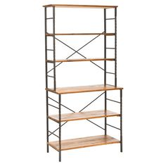 Steel and wood etagere with open shelves and lattice details.      Product: Etagere       Construction Material: Wood...