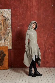 Long Winter Coat Boho Coat Plus Size Coat Hooded Coat