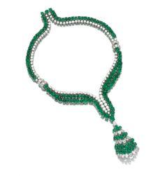Emerald & Diamond Pendant Necklace, 1960s