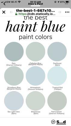 Blue Paint Colors, Bedroom Paint Colors, Interior Paint Colors, Paint Colors For Home, Room Colors, Wall Colors, House Colors, Ceiling Paint Colors, Exterior Colors