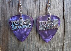 I Heart Sewing Charm on Guitar Pick Earrings - Pick Your Color by ItsYourPick on Etsy