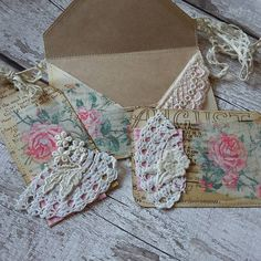 Altered envelope index card and tag. For a swap in Facebook group Junk journal Junkies UK Ireland. Vintage flowers theme.