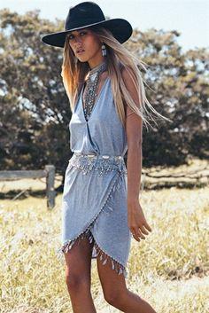 Tassel Hem Dress - Grey | SABO SKIRT