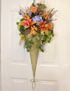 38 Decorative Silk Flower Metal Sconce Unique Door Decor Wr15 2 Decorate
