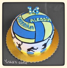volleyball cake. (Love the top of this cake!  Possibility?)