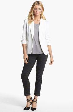 Olivia Moon Knit Blazer in White