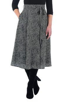 Sash tie herringbone print crepe skirt #eShakti