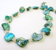 Pearl Nugget Necklace Green Mother of Pearl Nugget by BijiJewelry