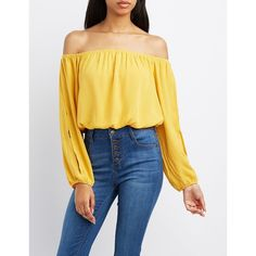Charlotte Russe Off-The-Shoulder Split Sleeve Top ($20) ❤ liked on Polyvore featuring tops, mustard, slit tops, woven top, cutout tops, charlotte russe tops and mustard crop top