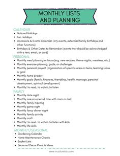 If you've been starting from scratch every year to plan and set goals, why not try reusable lists for new year planning? These lists will get you started. Planning Calendar, Monthly Meal Planning, New Year Planning, Event Calendar, Party Planning, City Events, Family Calendar, Love List, Family Organizer