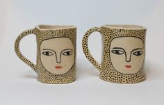 Dot by Dot  Wonky Beauties Ceramic Espresso Cups  by KinskaShop