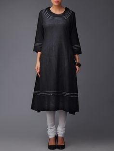 Black Round Neck Cotton Kurta