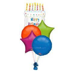 Un precioso ramillete de globos para un cumpleaños especial! Para decorar la fiesta, o para sorprender al cumpleañero! De www.fiestafacil.com, $26.95 ya inflado / A lovely balloon bouquet for a special birthday! Decorate the party, or surprise the birthday boy or girl! From www.fiestafacil.com