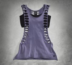 The two-in-one top comes on the scene with unforgettable style. | Harley-Davidson #HDBlackLabel Women's Slash Tank with Bra Top