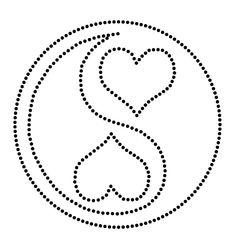Fadenbild Herz Vorlage Yin Yang zum Ausdrucken