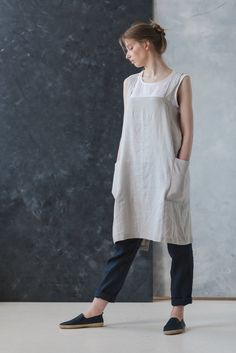 4c34f7f5b4 Linen Artisan Pinafore Coconut Milk   Japanese Style Apron   Cross Over  Apron   Soft Cross Back Apron   Linen Apron Dress   No Ties Apron