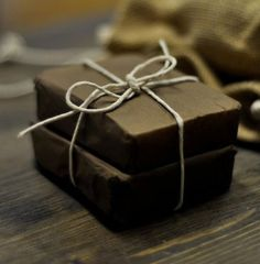 Simply wrapped handmade soap 'Made at Home'.