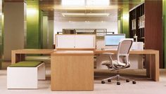 Haworth Patterns Desking | Patterns is a conscious break from standard office solutions. It offers sophisticated design, a wide variety of material options, and an anodized aluminum inlay, all of which bring refinement to the workspace.