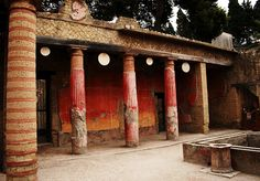 The House of Telephus in Herculaneum.    The House of Telephus contains a first century relief depicting the myth of Achilles and Telephus, after which it is named.
